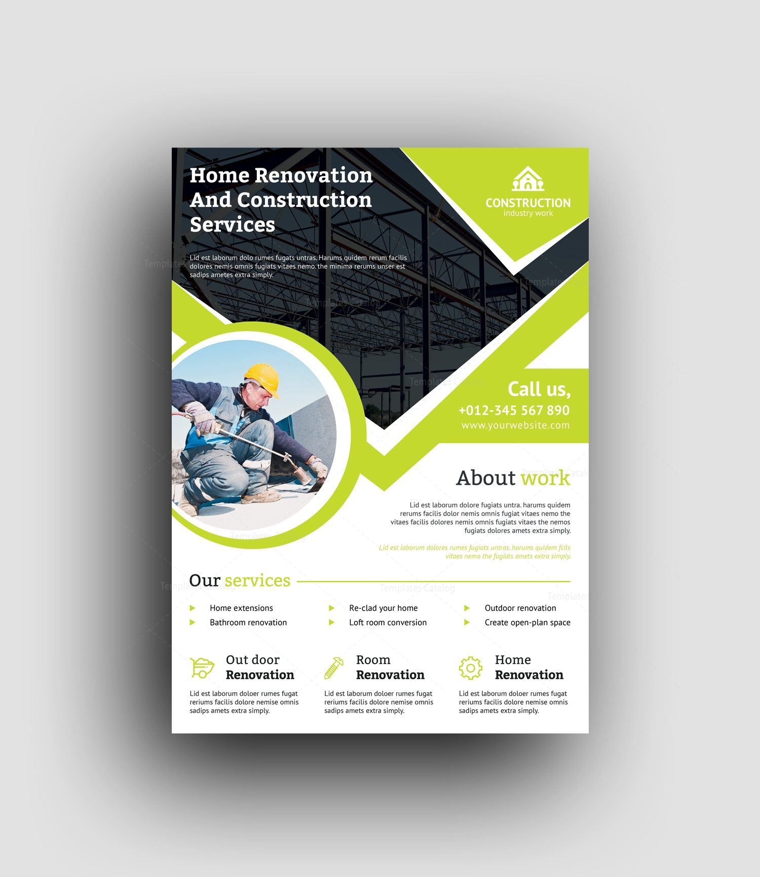 professional construction flyer design template 001493