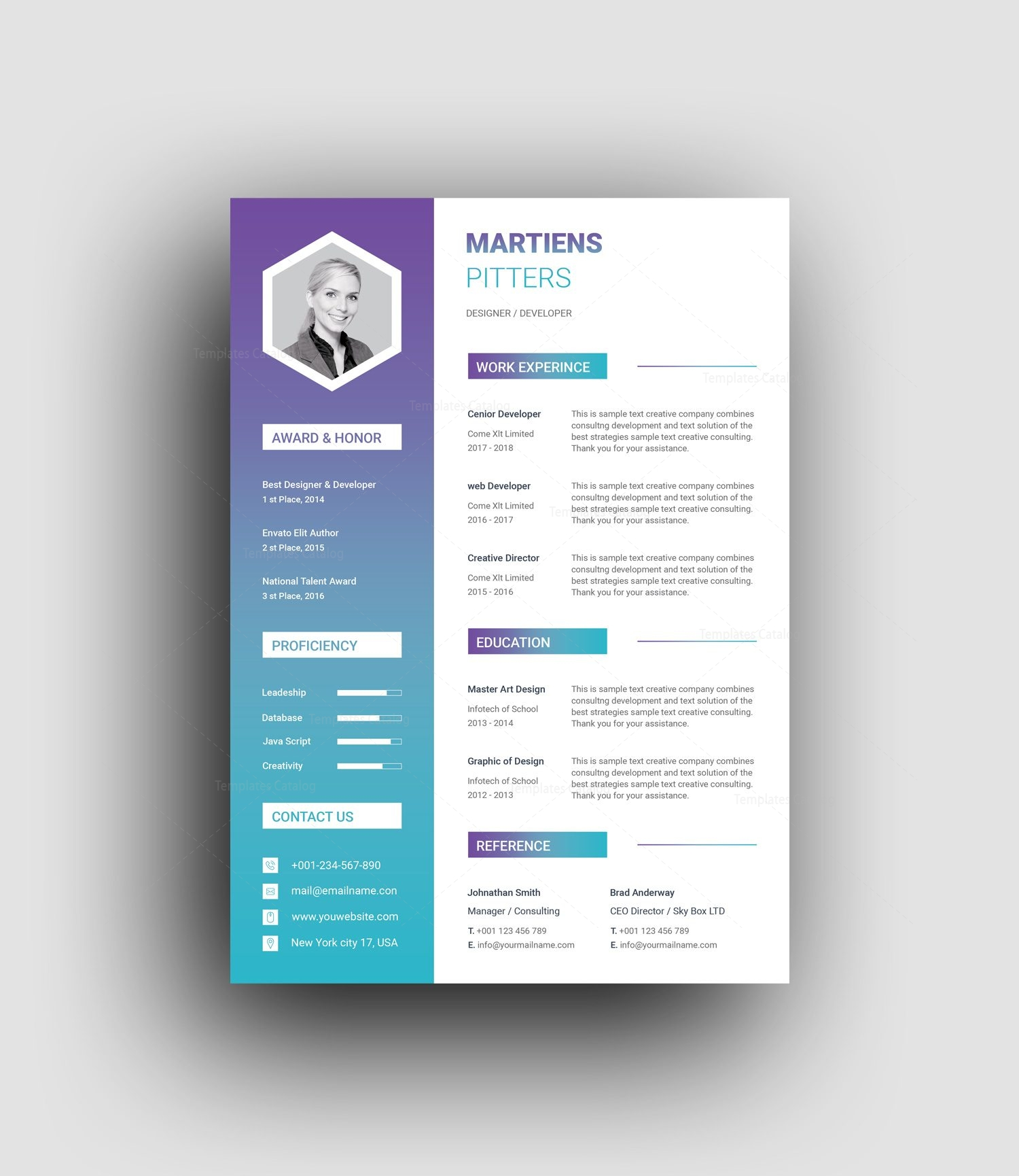 zeus modern professional resume template 001455
