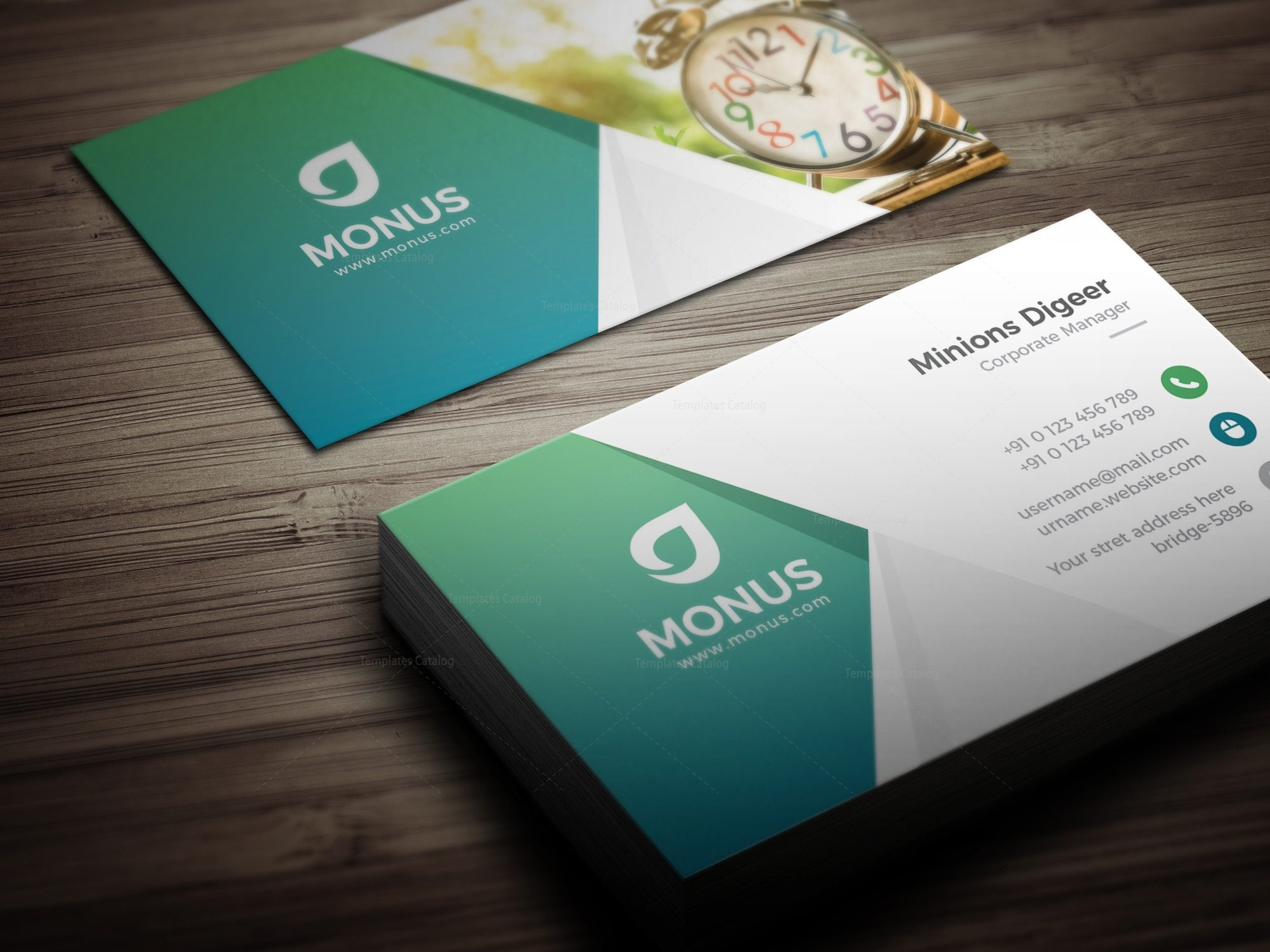 Clock Modern Business Card Design Template 001591