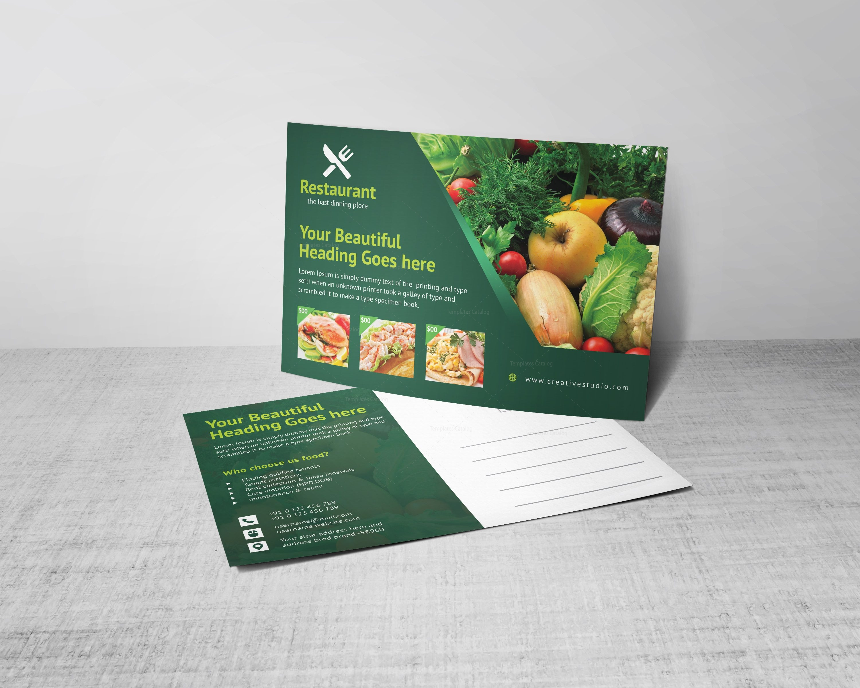 Creative Restaurant Postcard Design Template 001566