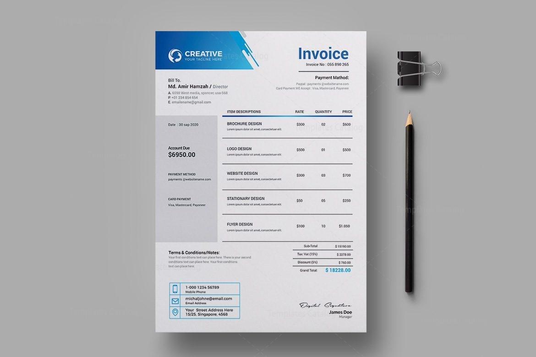 Creative Professional Invoice Design Template
