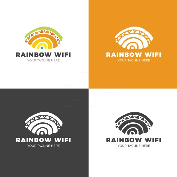 Rainbow Wifi Creative Logo Design Template