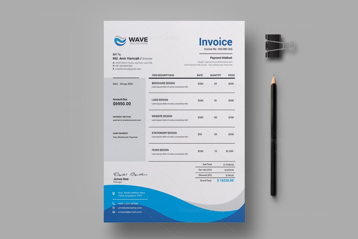 Wave Professional Invoice Design Template 001940   Template Catalog Wave Professional Invoice Design Template 2