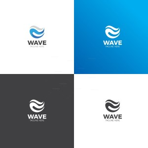 Waves Stars Logo Design Template