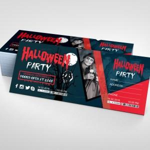 Halloween Party Event Ticket Design Template