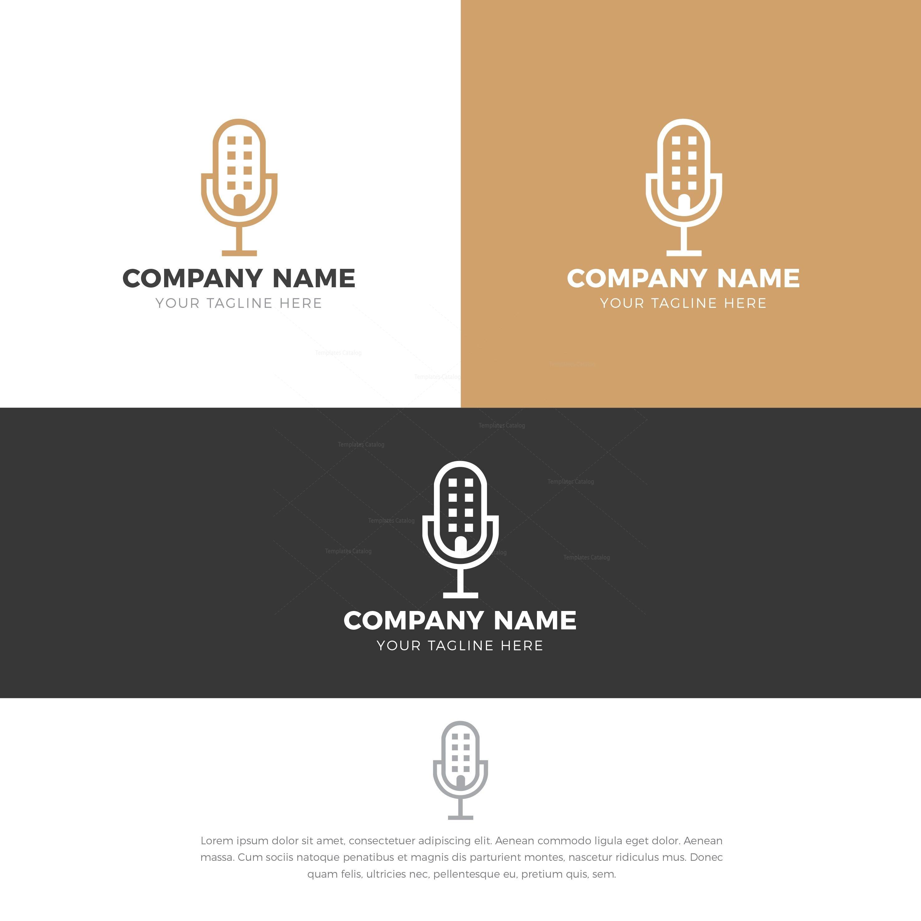 Microphone Stylish Logo Design Template