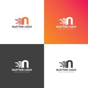 N Lower Case Creative Logo Design Template