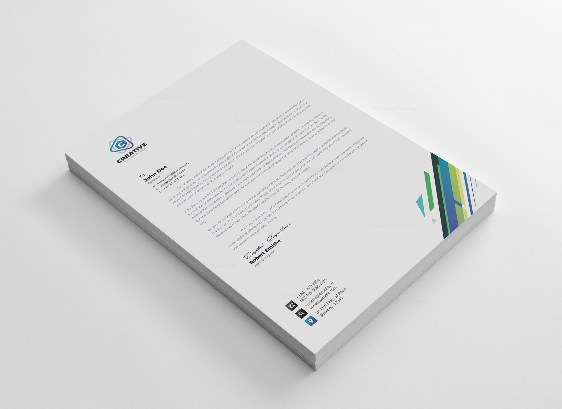 Smart Corporate Letterhead Design Template 002163 Template