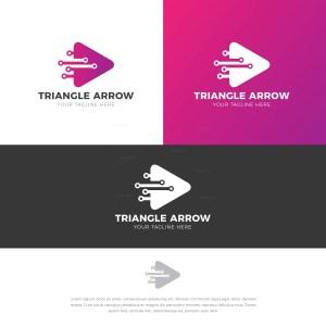 Triangle Arrow Stylish Logo Design Template