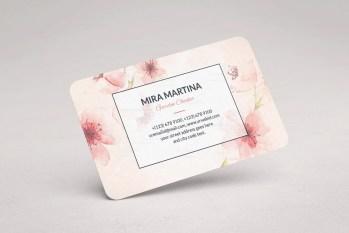 Pink Floral Business Card Design