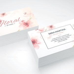 Pink Floral Business Card Design 002446 Template Catalog