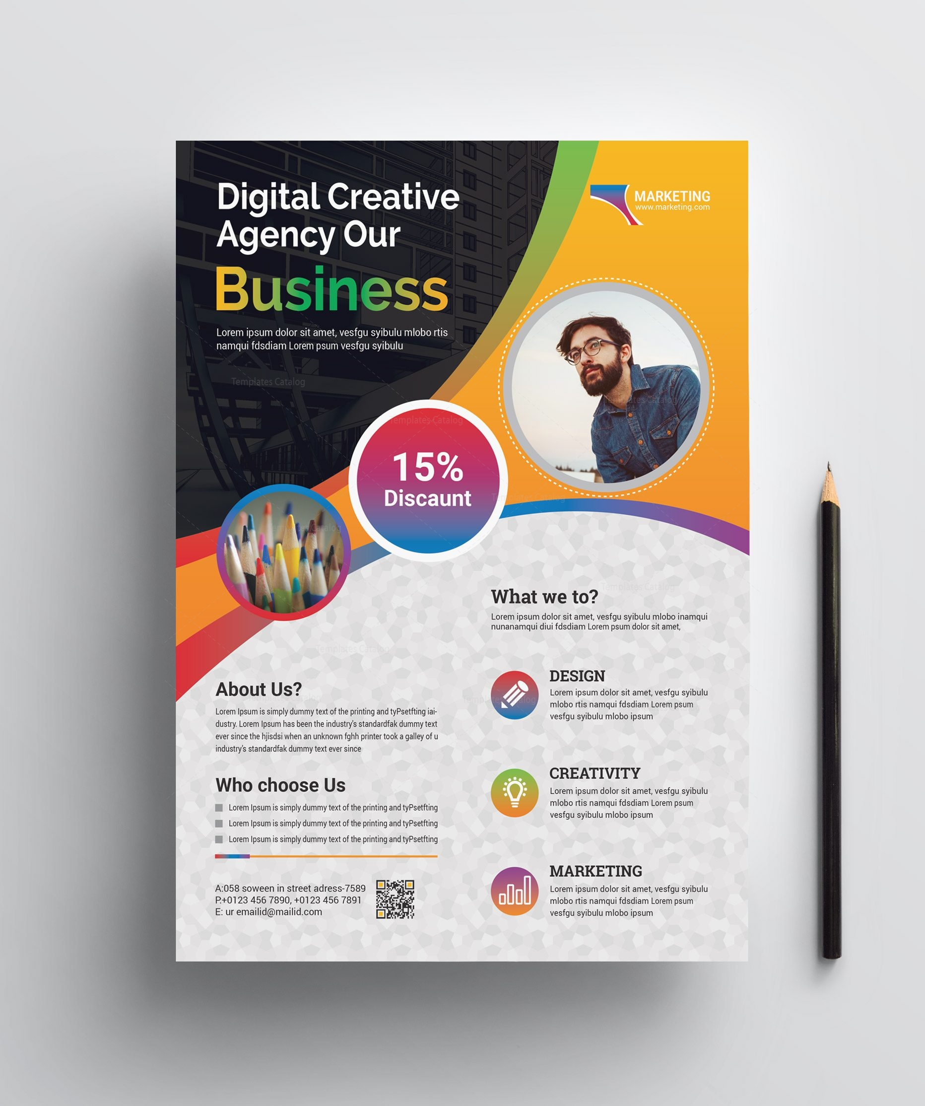 Professional Print Flyer Template 002457 - Template Catalog
