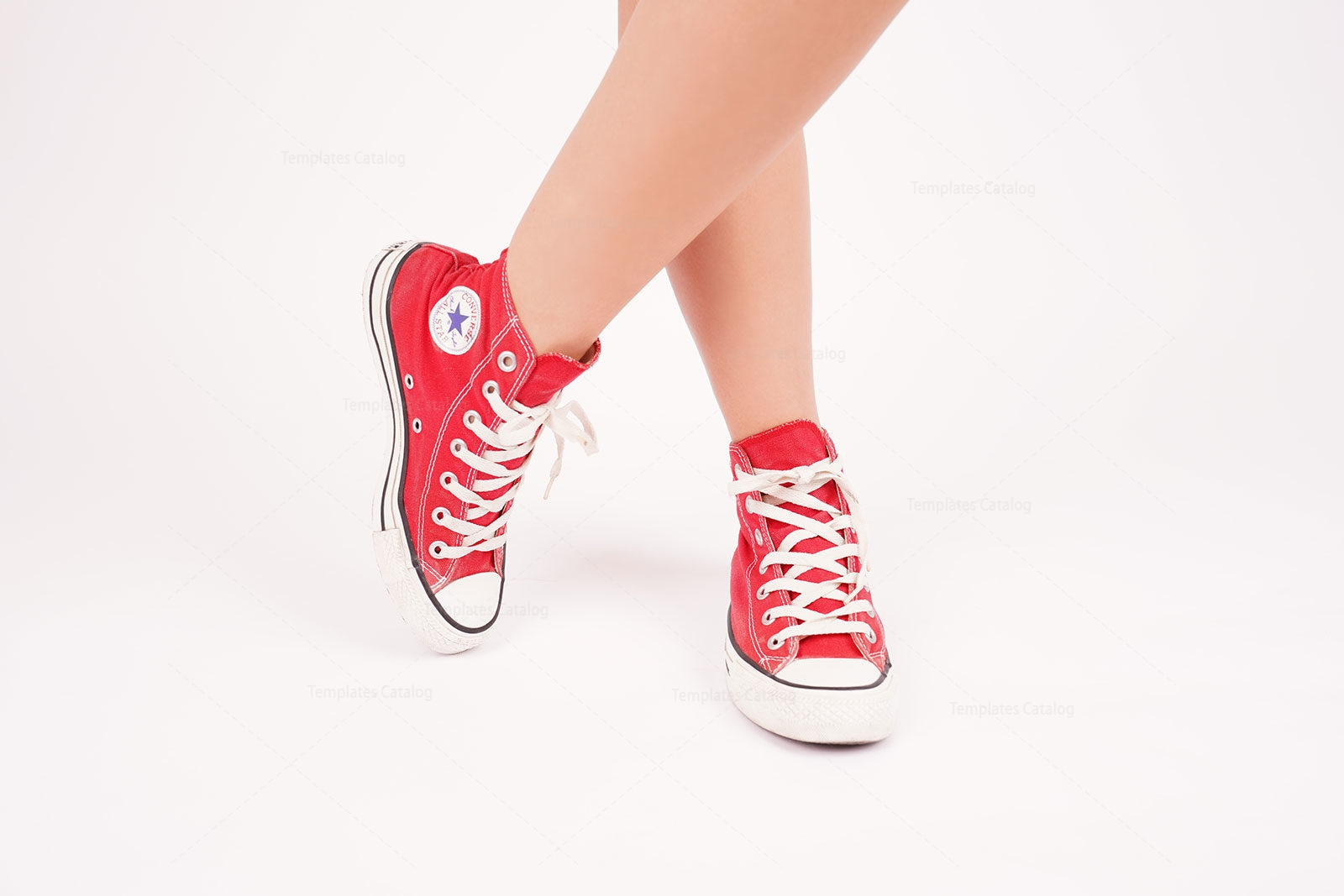 Young Female Wears Red All Star