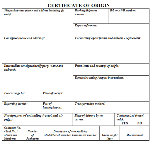 Certificate of Origin Template 3941