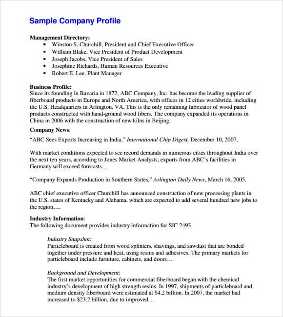 writing a business profile pdf printer