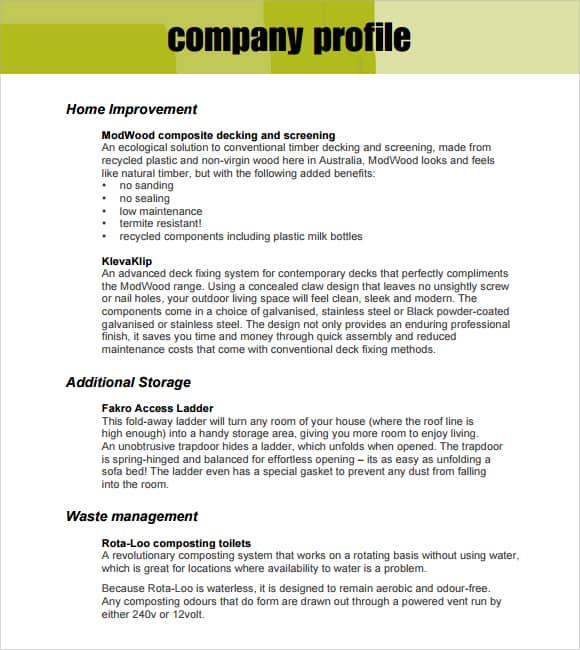 Company Profile Example 2641  Company Profile Free Template