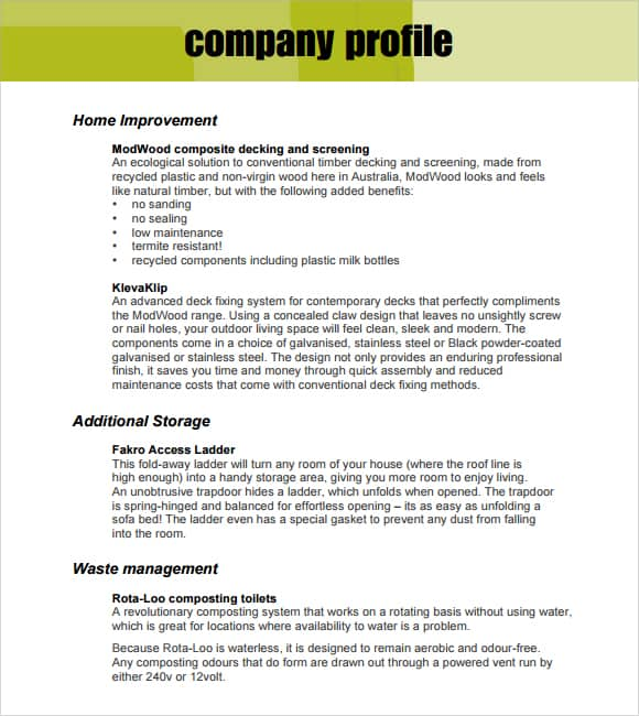 Company Profile Template. Company Description Template Company