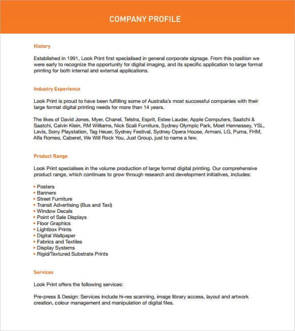 Captivating Company Profile Example 5941 Clip Awesome Ideas