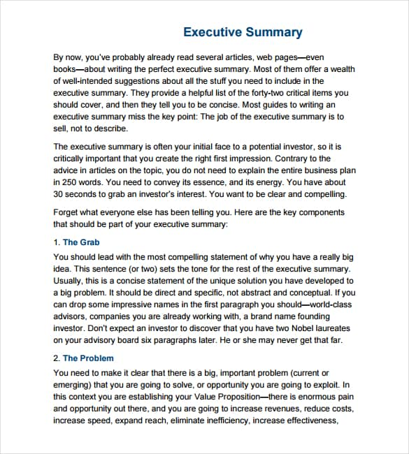 43 Free Executive Summary Templates in Word Excel PDF – Business Executive Summary Template
