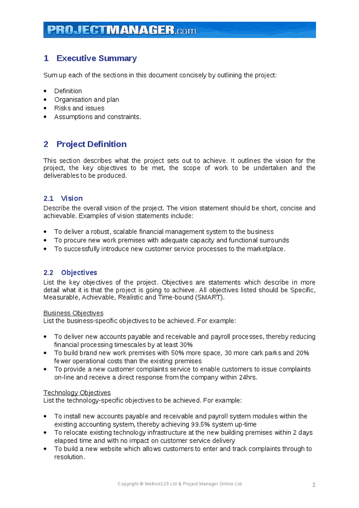 Executive Summary Example 39641  Project Executive Summary Template