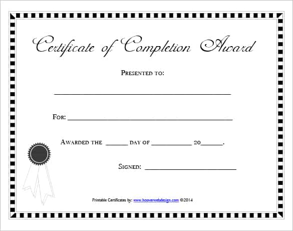 Free Certificate Of Completion Template 761  Free Certificate Template For Word