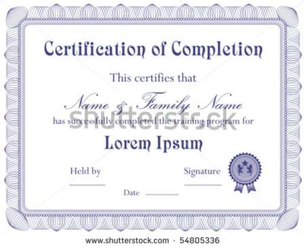 certificate of completion free template