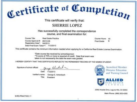 Free Certificate of Completion example 15.741