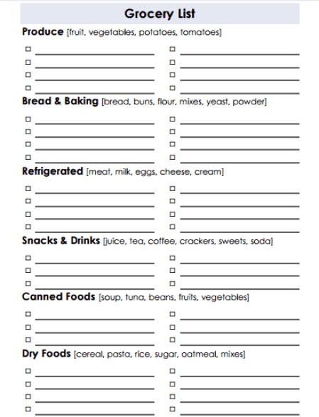 Grocery list Template 4941