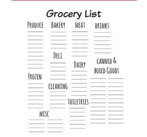 Grocery list sample 13.461