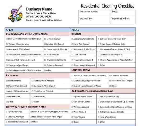 House Cleaning List Template 3941