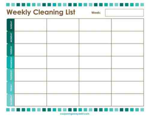 House Cleaning List example 13.964
