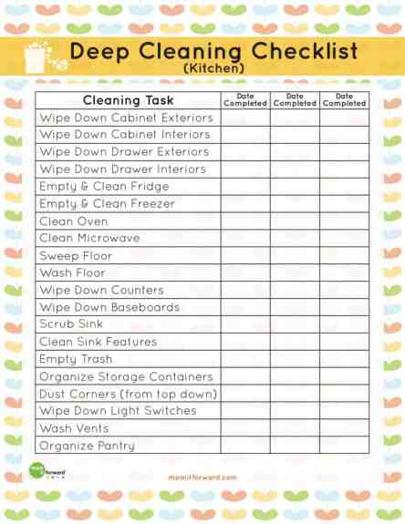 House Cleaning List example 25.4