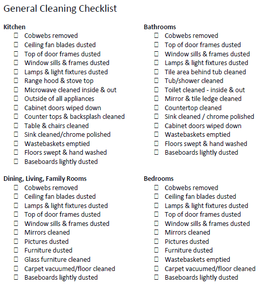 House Cleaning List example 59741