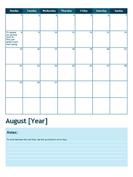 Monthly Calendar Template 3941
