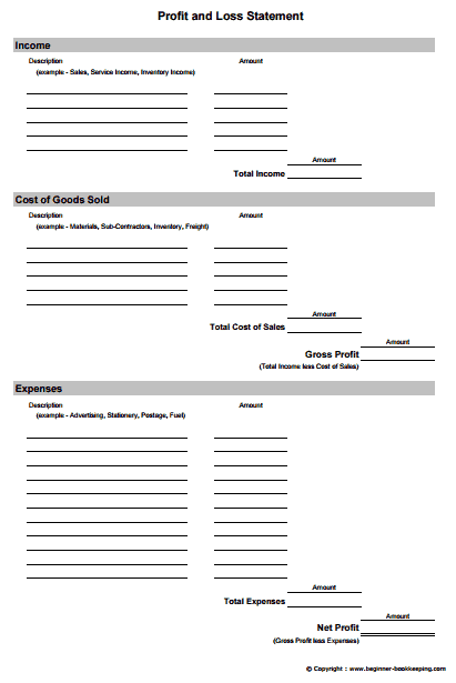Profit and Loss Statement Template 5941