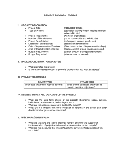 Project Proposal Format Karlapa Ponderresearch Co