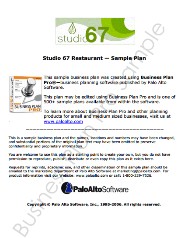 Free Restaurant Business Plan Templates In Word Excel PDF - Example business plan template