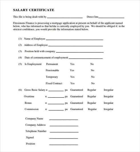 Salary Certificate sampe 6941