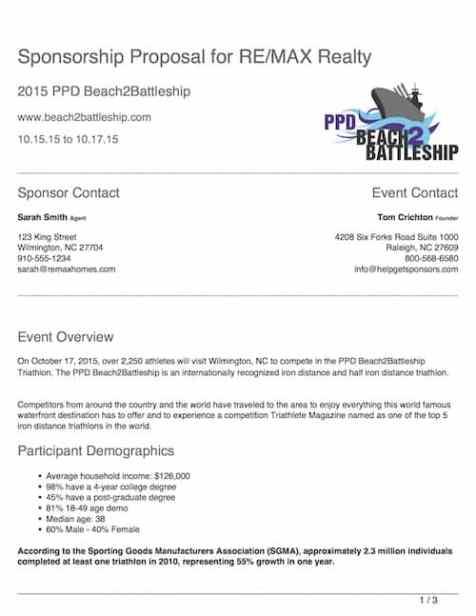 Sponsorship Proposal sample 89741