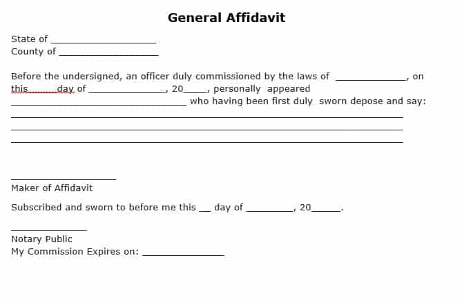 Superior Word Excel Templates Inside General Affidavit Template
