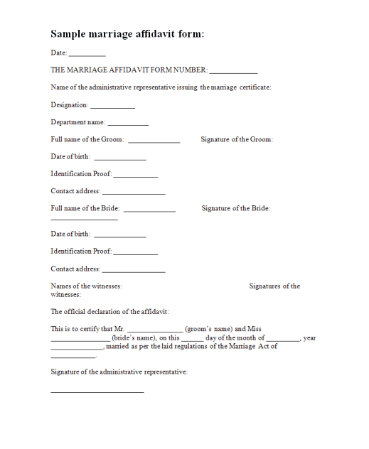 affidavit sample letter for marriage 33 free affidavit form templates in word excel pdf 21226 | affidavit form example 24.464