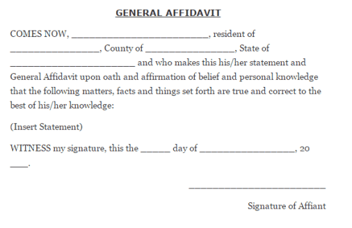 affidavit form template 79641