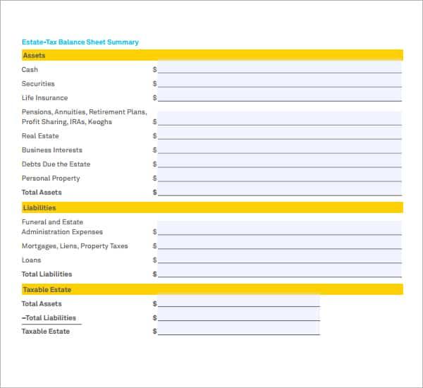 Balance Sheet Sample 18.994  Balance Sheet Template Word