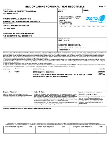 bill of lading sample 10.94