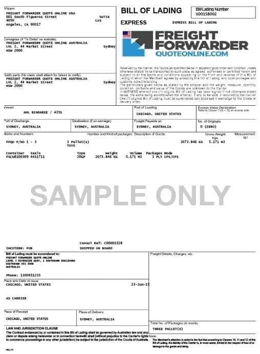 sample bill of lading form