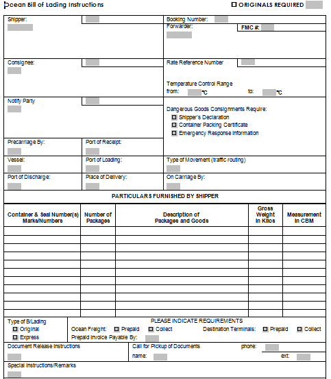 Bill Of Lading Template 14841