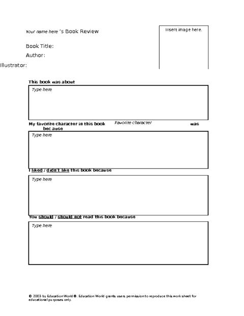 book report template 694
