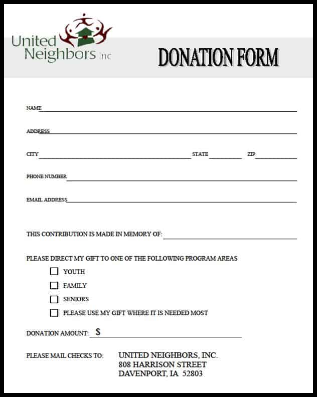 Donation letters and notifications are mostly sent by non for profit organizations or other social organizations that tend to channelize funds from people to needy citizens. 21 Free 36 Free Donation Form Templates Word Excel Formats