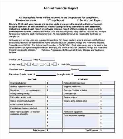 financial report template 2461