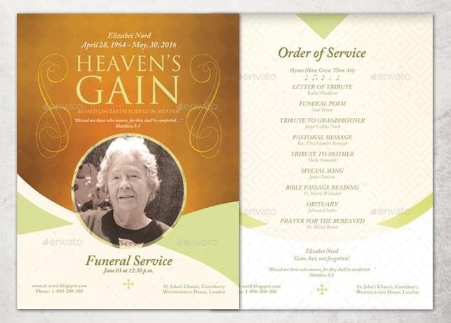 Funeral Pamphlet Template Free Gallery - Template Design Ideas